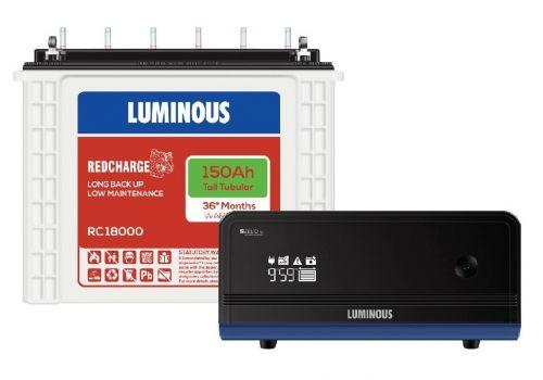 Luminous Zelio 1100 Inverter with RC18000 150 Ah Tubular Battery