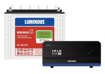 Luminous Zelio 1100 Inverter with RC18000 150 Ah Tubular Battery